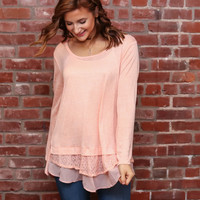 Blush Long Sleeve Top W/Lace Bottom