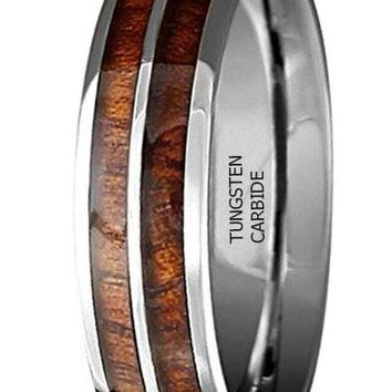 CERTIFIED 6mm Double Row Tungsten Ring Made With Genuine Koa Wood Inlay