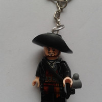 Pirates of the Caribbean Captain Barbossa   minifigure keychain keyring  made with LEGO® bricks