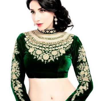 Maharana Full Sleeve Green Velvet Saree Blouse Sari Choli Crop Top - KP-72
