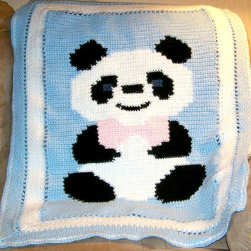 Crocheted Baby Blanket, Panda Blanket, Handmade, Baby Bedding, Baby Afghan, Baby Shower Gift, Unique Baby Gift, Crib Blanket, Photo Prop