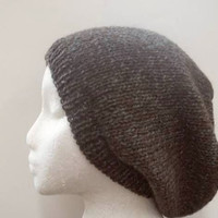 Slouch hat pure wool oversized beanie unisex knitted for men and women 4792