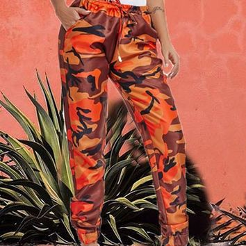 Orange Camo Print Drawstring Pockets High Waisted Cargo Casual Long Pants