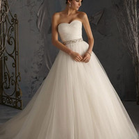 Blu by Mori Lee 5172 Strapless Tulle Ball Gown Wedding Dress. In Stock. Size 4.