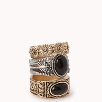Antiqued Natural Stone Ring Set