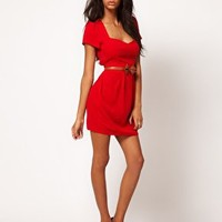 ASOS PETITE Tulip Dress With Sweetheart Neckline at asos.com