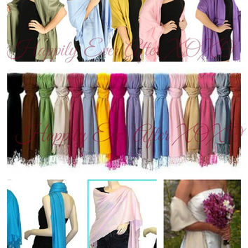 Pashmina Shawl Monogrammed Wedding Party Gift Bride, Maid Of Honor, Bridesmaid, Mother of the Bride, Mother of the Groom XL Wrap Size 28x78