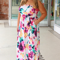 Count Me In Floral Printed Maxi Dress With Pockets ~ Ivory ~ Sizes 12-18