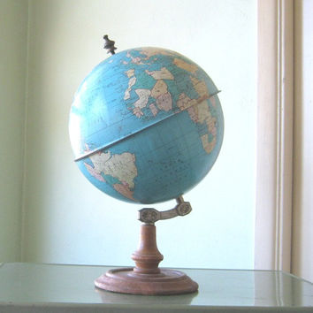 Tin Midcentury Globe by Ohio Art - Swing/Swivel Pedestal Globe - Full-Sized Vintage Table Globe - Large Globe - Atomic Decor Globe Mad Men