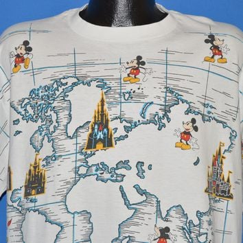 80s Mickey Mouse Disneyland World Map t-shirt XL