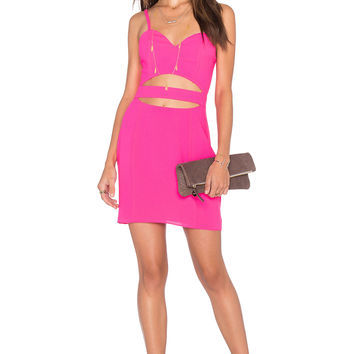 NBD x Naven Twins Cross It Off Bodycon Dress in Fuschia
