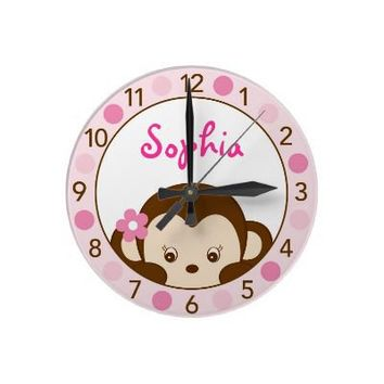 Mod Girl Monkey Personalized Nursery Wall Clock from Zazzle.com