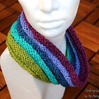 Cozy chunky infinity loop scarf - handknit infinity snood from hand dyed organic cotton/bamboo yarn, water colours, holiday gift for her