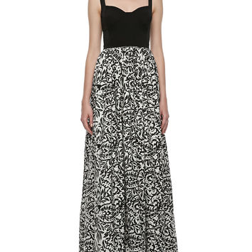 Women's Sleeveless Sweetheart Printed Gown - Aidan Mattox - Black/White