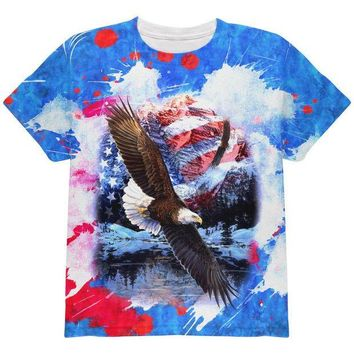 CREYCY8 4th of July American Flag Bald Eagle Splatter All Over Youth T Shirt