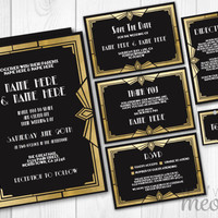 Wedding Invitations Set Art Deco Template Rustic 1920's INSTANT DOWNLOAD Gatsby Package Printable Invites Save The Date Personalize Editable