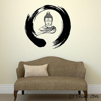 Zen Circle Wall Decals Buddha Buddhism Meditation Vinyl Wall Stickers Removable Art Mural Home Decoration Yoga Studio Decal L361