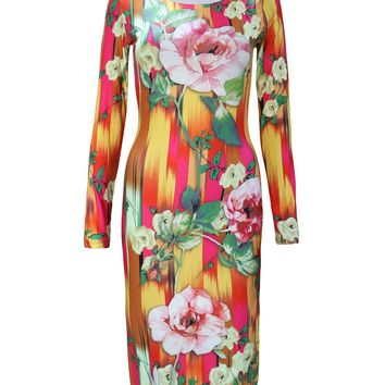 Streetstyle  Casual Tropical Round Neck Floral Printed Long Sleeve Pencil Dress