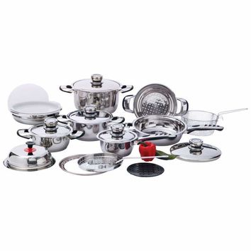 Chef's Secret 22pc 7-Ply, High-Quality, Heavy-Duty Stainless Steel Cookware Set-KT22