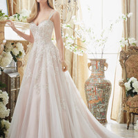 Mori Lee 2881 Tank Beaded Lace Soft Tulle Ball Gown Wedding Dress – Off White by Bridal Expressions