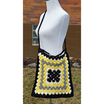 Vintage Granny Squares Tote, Crochet Bag, Crossbody Purse, Black, Yellow, Grey, 60s, Hippy, Boho, Handmade