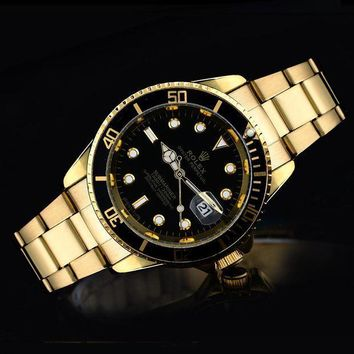 GJ1A Rolex tide brand fashion men and women fashion watches F-SBHY-WSL Gold + Black Case + Black Dial