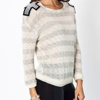 embellished-cross-striped-sweater IVORYGREY - GoJane.com