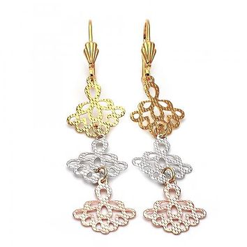 Gold Layered 5.084.001 Long Earring, Flower Design, Diamond Cutting Finish, Tri Tone