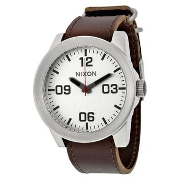 Nixon Corporal Silver Dial Brown Leather Mens Watch A243-1113