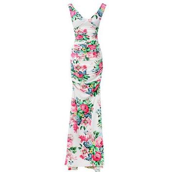 Floral Print Sleeveless V-Neck Ruched Maxi Dress