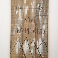 Boho Decor New Rustic Décor Reclaimed Wood Wall Art Galley Wall Art MOVE MOUNTAINS Gallery Wall Piece Mountain Art New Rustic Reclaimed Wood
