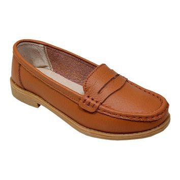 Women's Light Brown Penny Loafer Moccasins - CASE OF 12