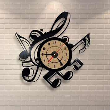 Living Room Vintage Retro Vinyl Wall Clock Musical Themes CD Record Clock Large 3D Home Decor Watch