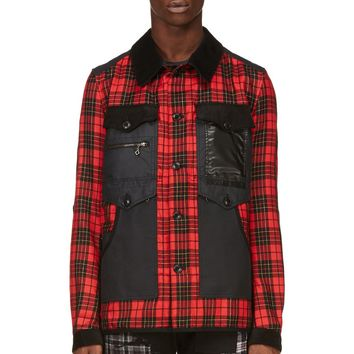 Junya Watanabe Black And Red Plaid Modified Construction Jacket