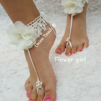 Ship Baby Barefoot Sandals Toddler Kids Starfish Foot Jewelry Wedding Flower Girl Starfish Barefoot Sandal Kids Starfish