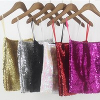Women Sequins Camis Metal Strappy Camisole Shiny Glitter Sexy Backless Vest Tank Top Sleeveless Pleated Solid Color Club Singer