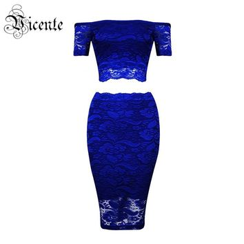 Free Shipping! 2017 New Graceful Floral Lace Sexy Off The Shoulder Short Sleeves Two Pieces Celebrity Party Bandage Dress Set