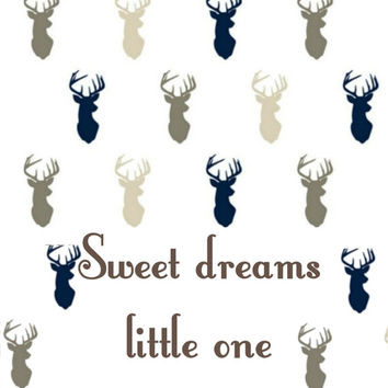 navy blue - beige wall art - deer print - woodland animals - Baby Nursery Decor - baby shower - kids room - print - sweet dreams little one