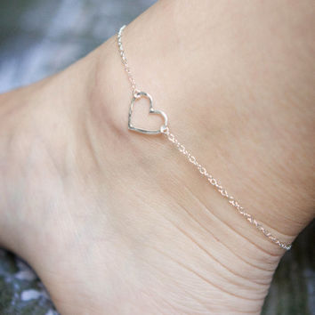 Sterling Silver Anklet - Hammered Heart Ankle Bracelet - Simple Anklet- Mother's Day Gift