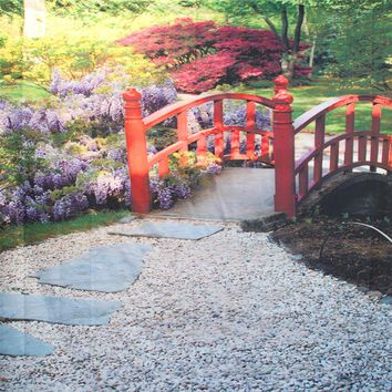 Red Bridge Stone Pathway Within Flowers Backdrop 8x8 - LCPCSL345 - LAST CALL