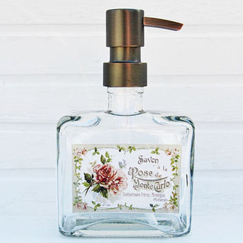 Glass Soap Dispenser Pump | Country Chic Decor | Liquid Soap Dispenser Bottle | Bathroom Accessories | Bathroom Supplies | Soap Container