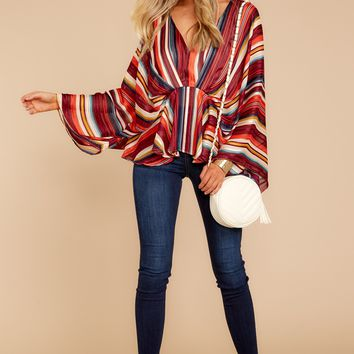Think It Through Burgundy Rainbow Stripe Top