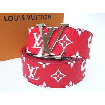 Louis Vuitton x Supreme MP015 Saint-cul LV 45.6 inch Belt Red White Never Used