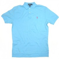 Men's Polo Ralph Lauren Polo Shirt in Solid Turquoise, Pink Pony (CUSTOM FIT)