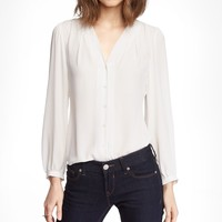 GATHERED V-NECK BLOUSE