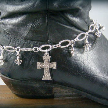 Boot Bling ~ Bracelets for Boots ~ Boot Bracelet ~ Cross Boot Bling - Boot Jewelry - Rhinestone Cross Boot Bracelet