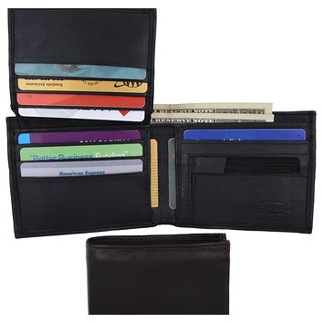 Lamb Leather Flap Up ID Card Holder W/Zippered Compartment Bifold Wallet 3053