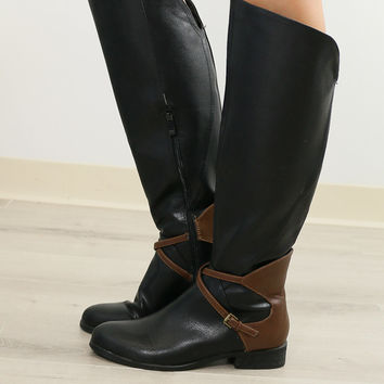 Very Volatile Backyard Black Riding Boot With Contrast Heel & Buckle Strap Details