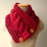 Knit Scarf Cable Cowl Cranberry Red by WindyCityKnits on Etsy