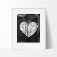 Patterned Heart with Brush Strokes in Black, Wall Decor Ideas